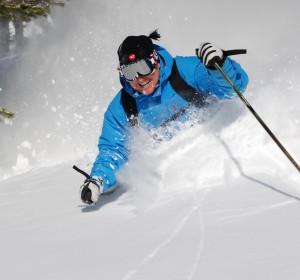 Skiing deep powder at Schweitzer Mountain